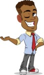 Simple Style Cartoon of an African-American Guy - Showing with left hand