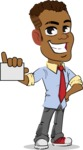 Simple Style Cartoon of an African-American Guy - with a Blank Business card