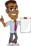 Simple Style Cartoon of an African-American Guy - with a Blank paper