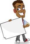 Simple Style Cartoon of an African-American Guy - Holding a Blank banner