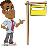 Simple Style Cartoon of an African-American Guy - with Blank Real estate sign