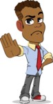 Simple Style Cartoon of an African-American Guy - Making stop gesture with both hands