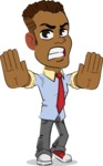 Simple Style Cartoon of an African-American Guy - Making stop with a hand