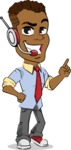Simple Style Cartoon of an African-American Guy - Talking on phone