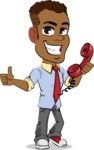 Simple Style Cartoon of an African-American Guy - Holding phone with thumbs up