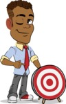 Simple Style Cartoon of an African-American Guy - with Target