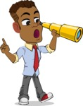 Simple Style Cartoon of an African-American Guy - Looking through telescope
