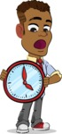 Simple Style Cartoon of an African-American Guy - Holding clock