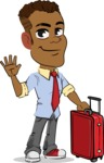 Simple Style Cartoon of an African-American Guy - with Suitcase