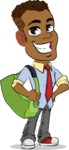 Simple Style Cartoon of an African-American Guy - Traveling