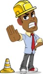 Simple Style Cartoon of an African-American Guy - as a Construction worker