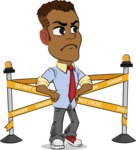 Simple Style Cartoon of an African-American Guy - with Under Construction sign