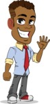 Simple Style Cartoon of an African-American Guy - Waving