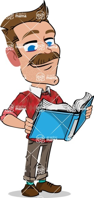 Simple Style Cartoon of a Man with Mustache - Reading a book