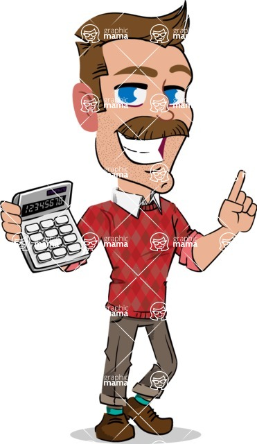 Simple Style Cartoon of a Man with Mustache - with Calculator