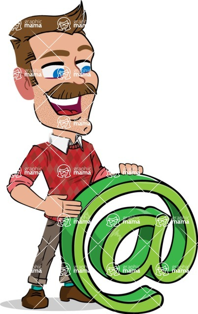 Simple Style Cartoon of a Man with Mustache - with Email sign