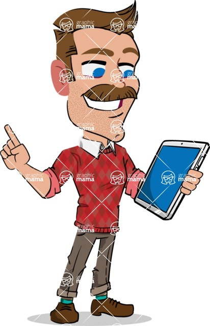 Simple Style Cartoon of a ​Man with Mustache - Holding an iPad