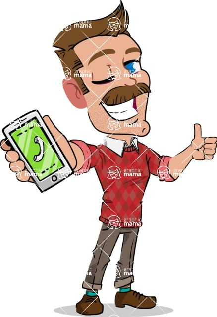 Simple Style Cartoon of a Man with Mustache - Holding a smartphone