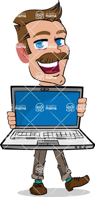 Simple Style Cartoon of a Man with Mustache - Showing a laptop