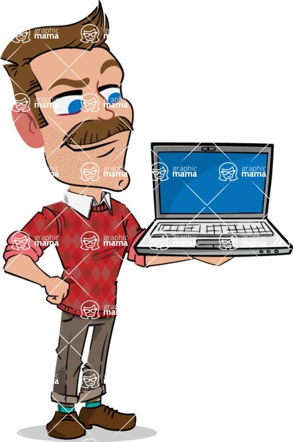 Simple Style Cartoon of a Man with Mustache - Presenting on laptop
