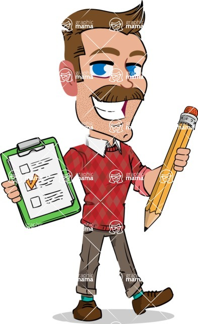 Simple Style Cartoon of a Man with Mustache - Holding a notepad with pencil