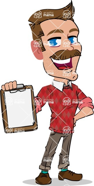 Simple Style Cartoon of a Man with Mustache - Smiling and holding notepad