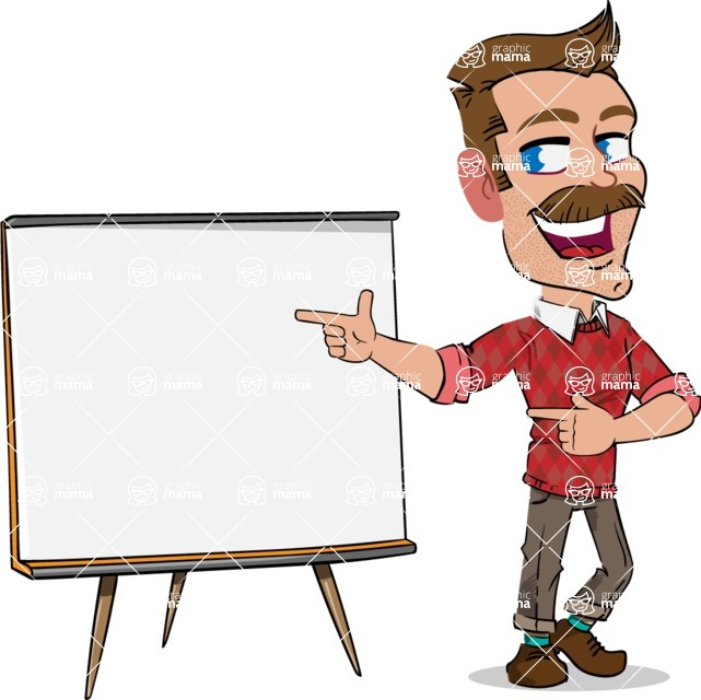 Simple Style Cartoon of a Man with Mustache - Pointing on a Blank whiteboard