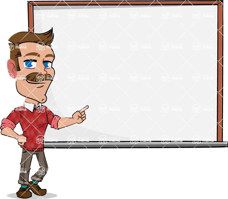 Simple Style Cartoon of a ​Man with Mustache - Making a Presentation on a Blank white board