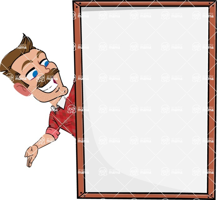 Simple Style Cartoon of a Man with Mustache - Making peace sign with Big Presentation board