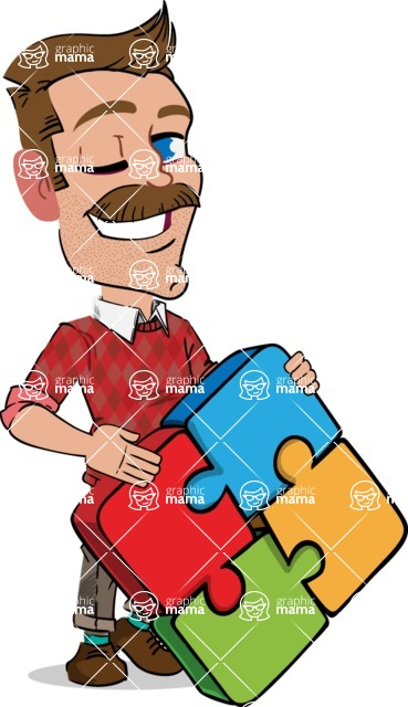 Simple Style Cartoon of a Man with Mustache - with Puzzle