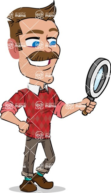 Simple Style Cartoon of a Man with Mustache - Searching with magnifying glass