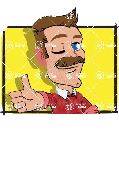 Simple Style Cartoon of a Man with Mustache - Shape 1