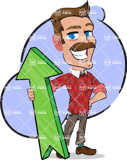 Simple Style Cartoon of a Man with Mustache - Shape 10