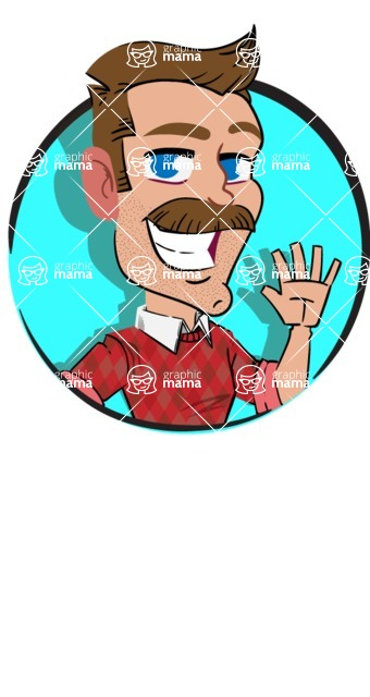 Simple Style Cartoon of a Man with Mustache - Shape 2