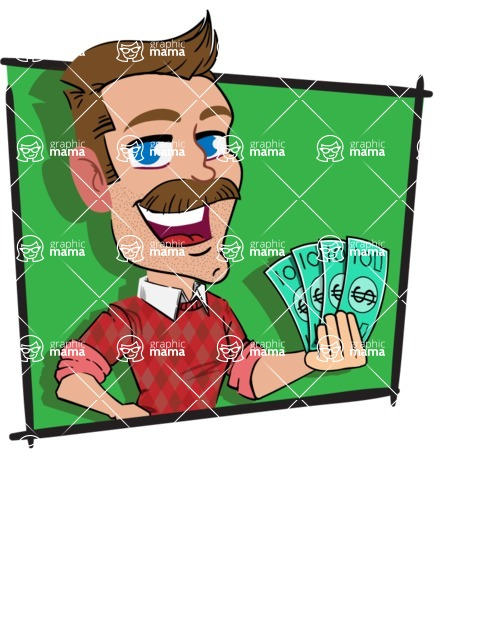 Simple Style Cartoon of a Man with Mustache - Shape 3