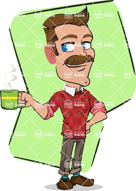 Simple Style Cartoon of a Man with Mustache - Shape 5