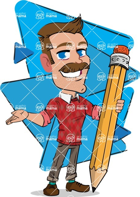 Simple Style Cartoon of a Man with Mustache - Shape 6