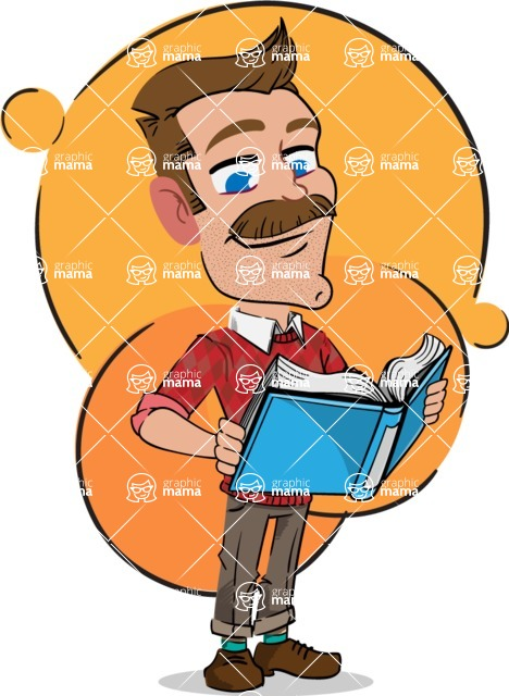 Simple Style Cartoon of a ​Man with Mustache - Shape 7