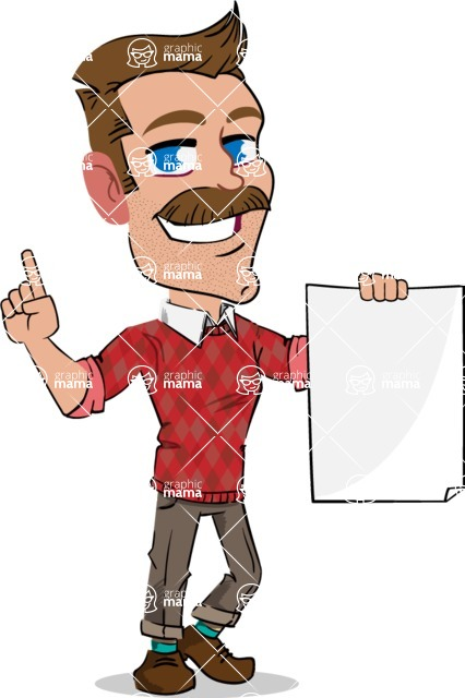 Simple Style Cartoon of a ​Man with Mustache - with a Blank paper