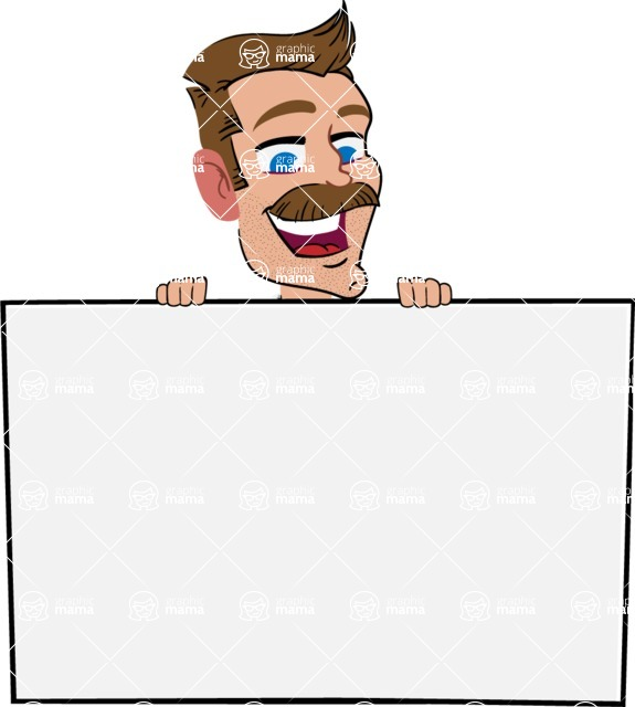 Simple Style Cartoon of a ​Man with Mustache - with a Blank Presentation sign