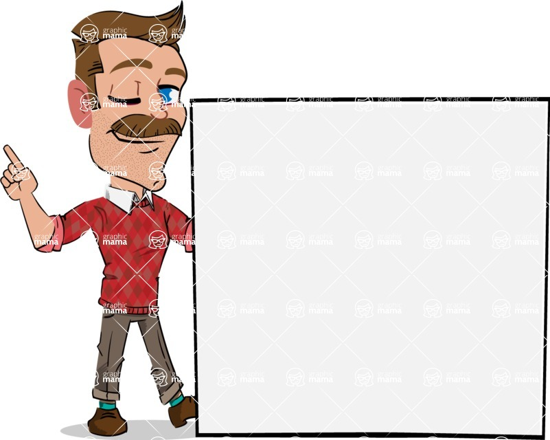 Simple Style Cartoon of a Man with Mustache - Holding a Blank sign and Pointing