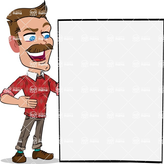 Simple Style Cartoon of a Man with Mustache - Showing Big Blank banner