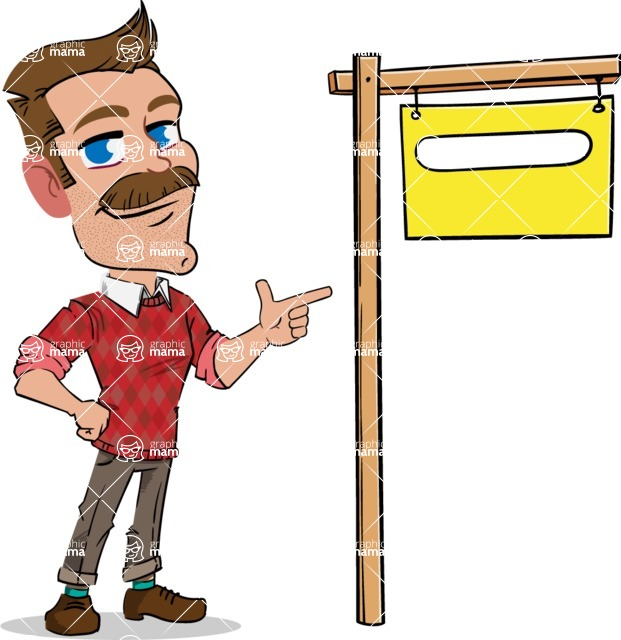 Simple Style Cartoon of a Man with Mustache - with Blank Real estate sign
