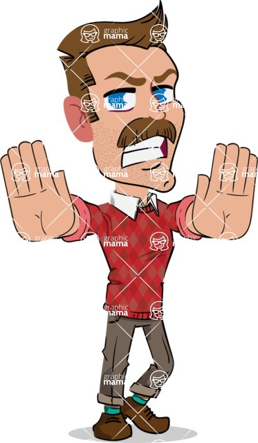 Simple Style Cartoon of a Man with Mustache - Making stop with a hand