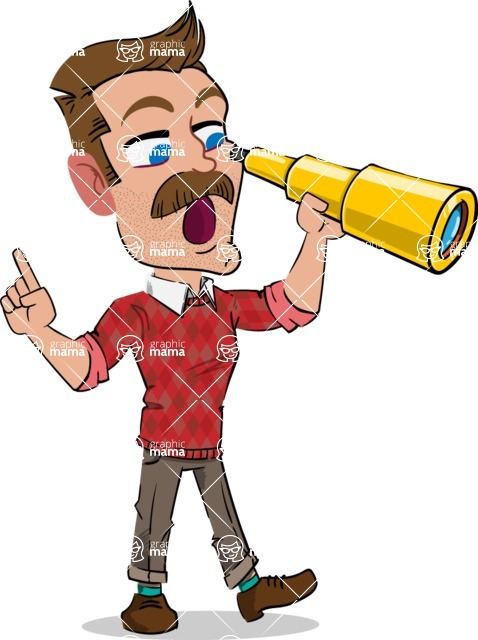Simple Style Cartoon of a Man with Mustache - Looking through telescope