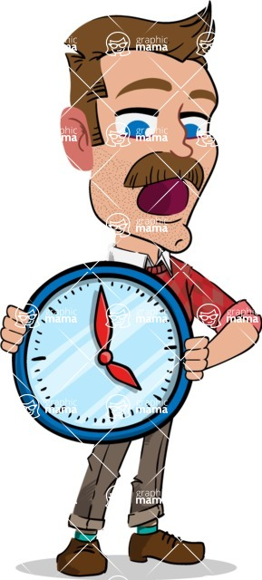 Simple Style Cartoon of a ​Man with Mustache - Holding clock