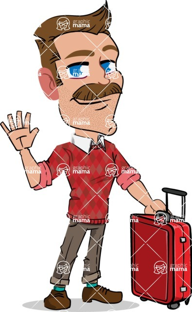 Simple Style Cartoon of a Man with Mustache - with Suitcase
