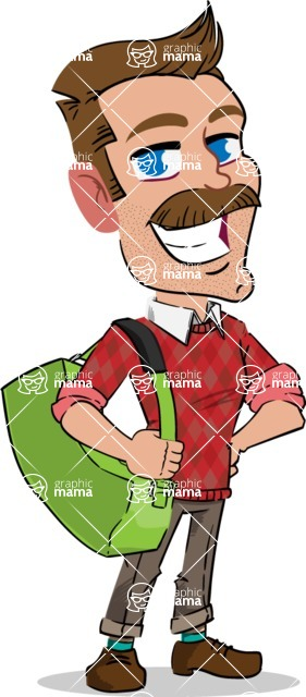 Simple Style Cartoon of a Man with Mustache - Traveling