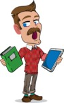 Simple Style Cartoon of a ​Man with Mustache - Choosing between Book and Tablet