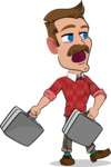 Simple Style Cartoon of a ​Man with Mustache - with Two briefcases